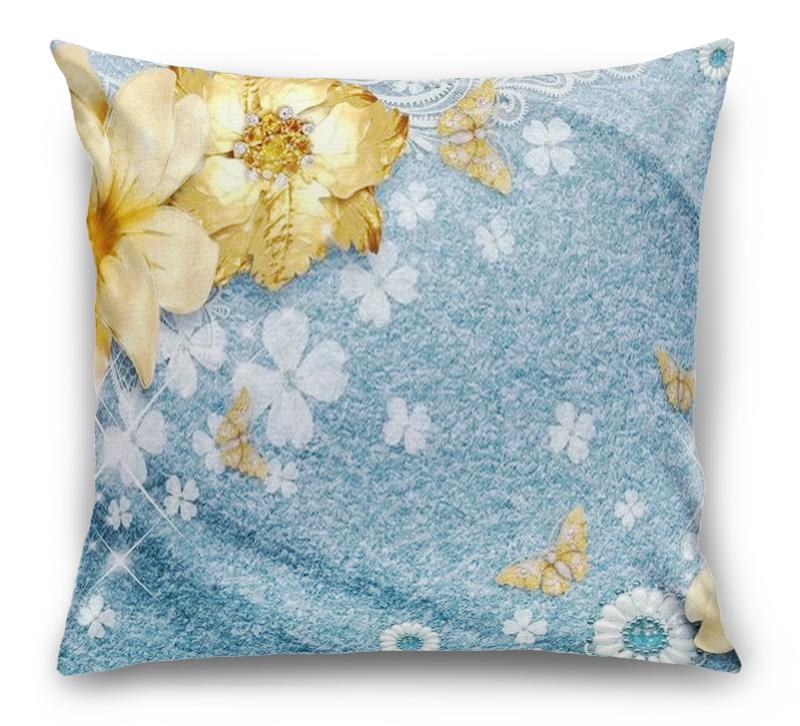 3D Подушка «Золотые цветы с бабочками на голубой ткани» вид 1