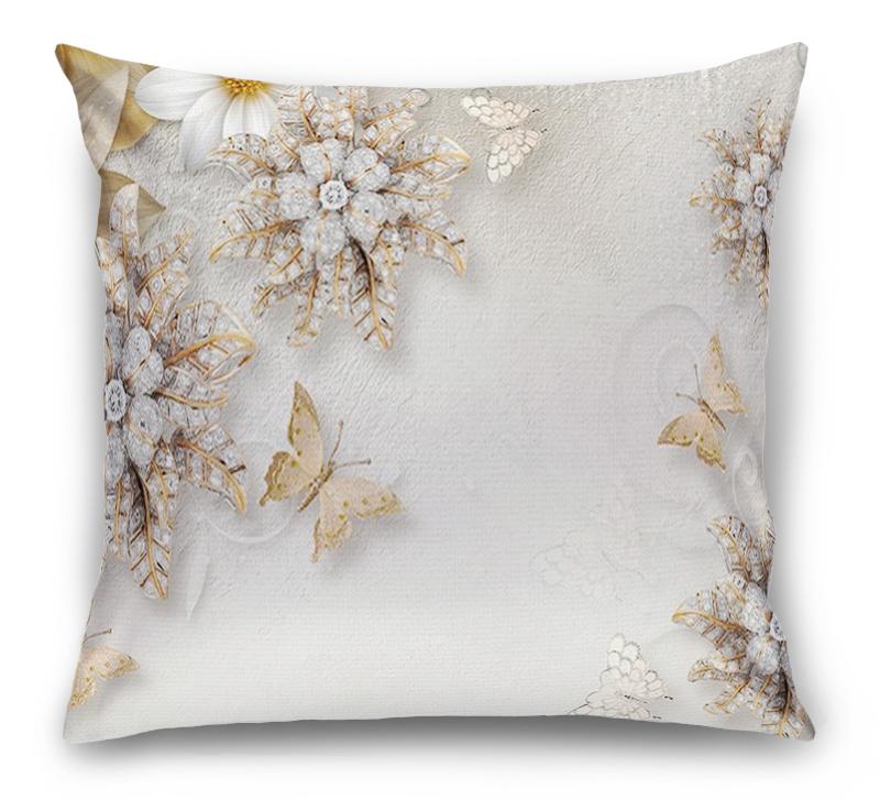 3D Подушка «Объемные цветы со стразами и бабочками» вид 1