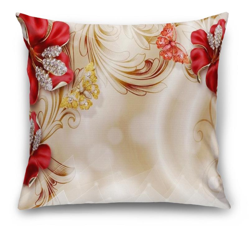 3D Подушка «Алые лилии с драгоценными бабочками» вид 1