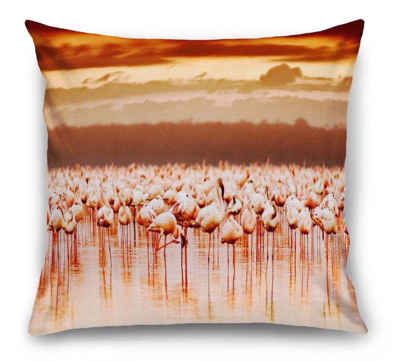3D Подушка «Фламинго на закате» вид 1