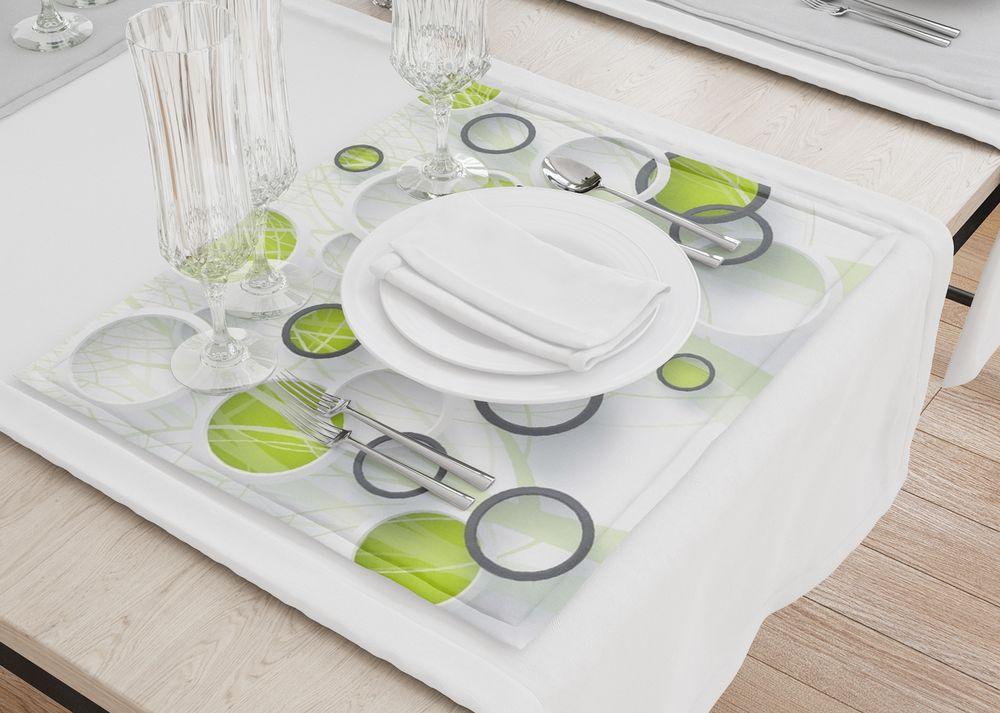 3D Фотообои Салфетки для сервировки стола «Объемные зеленые круги»