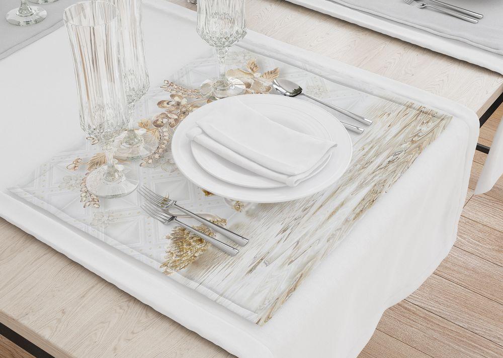 3D Фотообои Сервировочные салфетки под тарелки «Роскошные ювелирные цветы с лебедями»