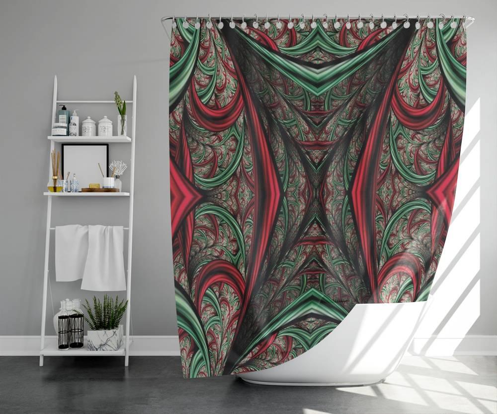 3D фото занавеска для ванной «Угловатый абстрактный тоннель» вид 5