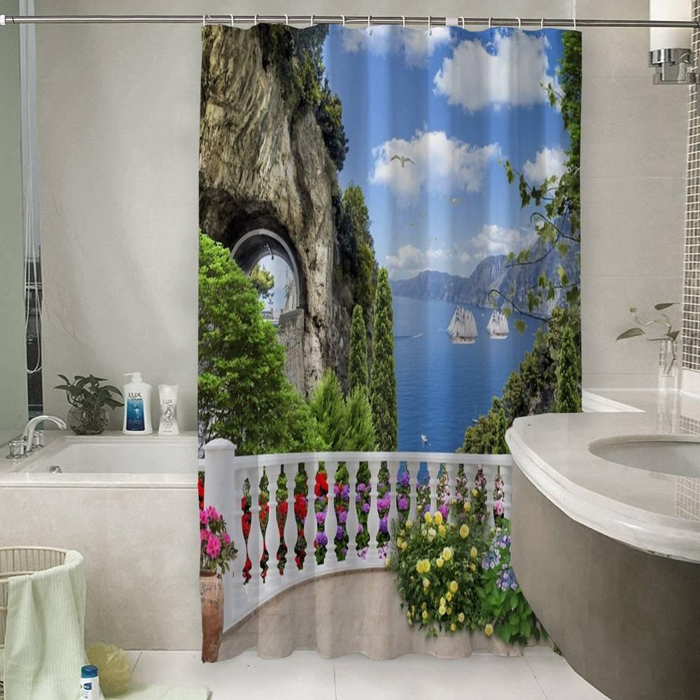 3D штора для ванны «Античный балкон с видом на парусники в заливе»