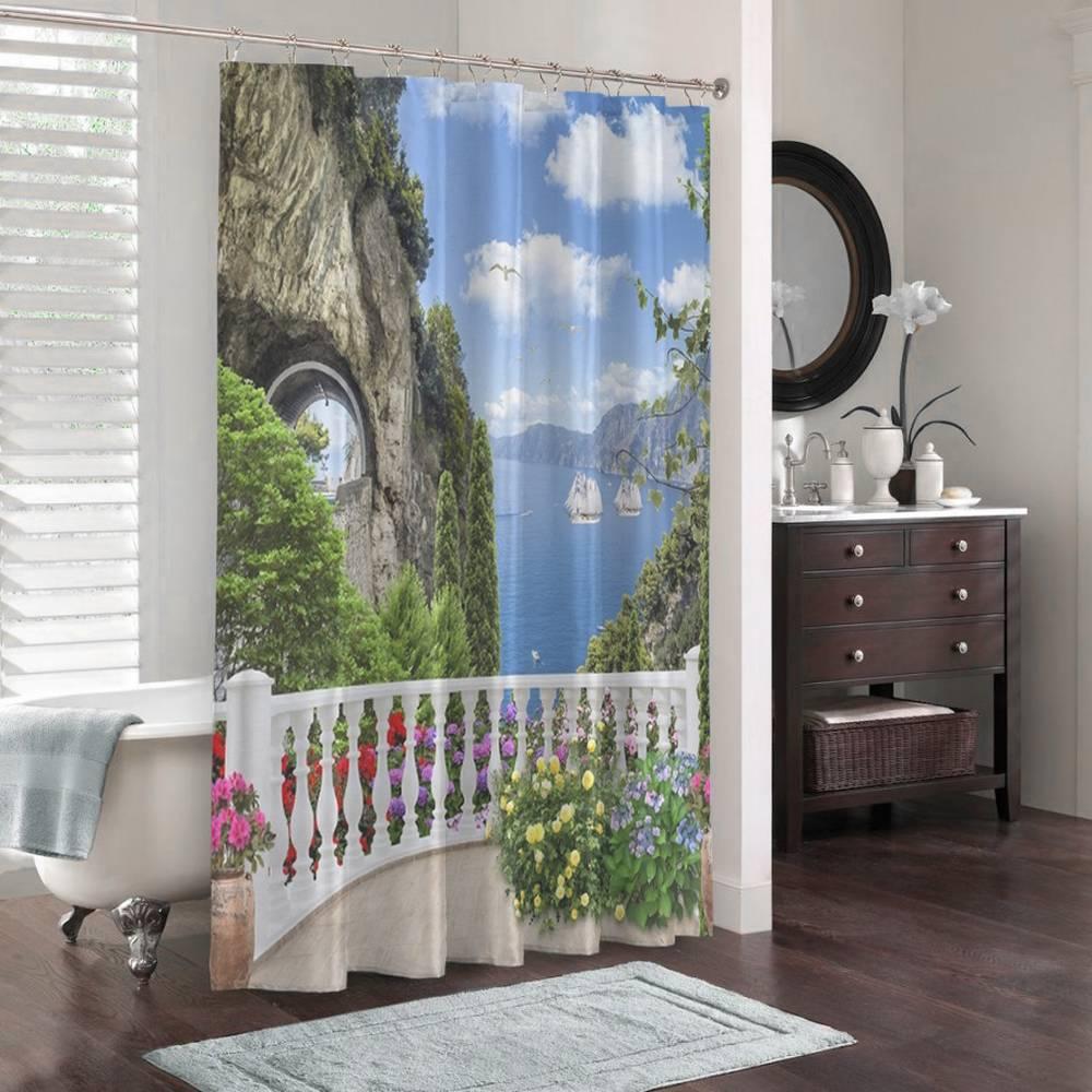 3D штора для ванны «Античный балкон с видом на парусники в заливе» вид 3