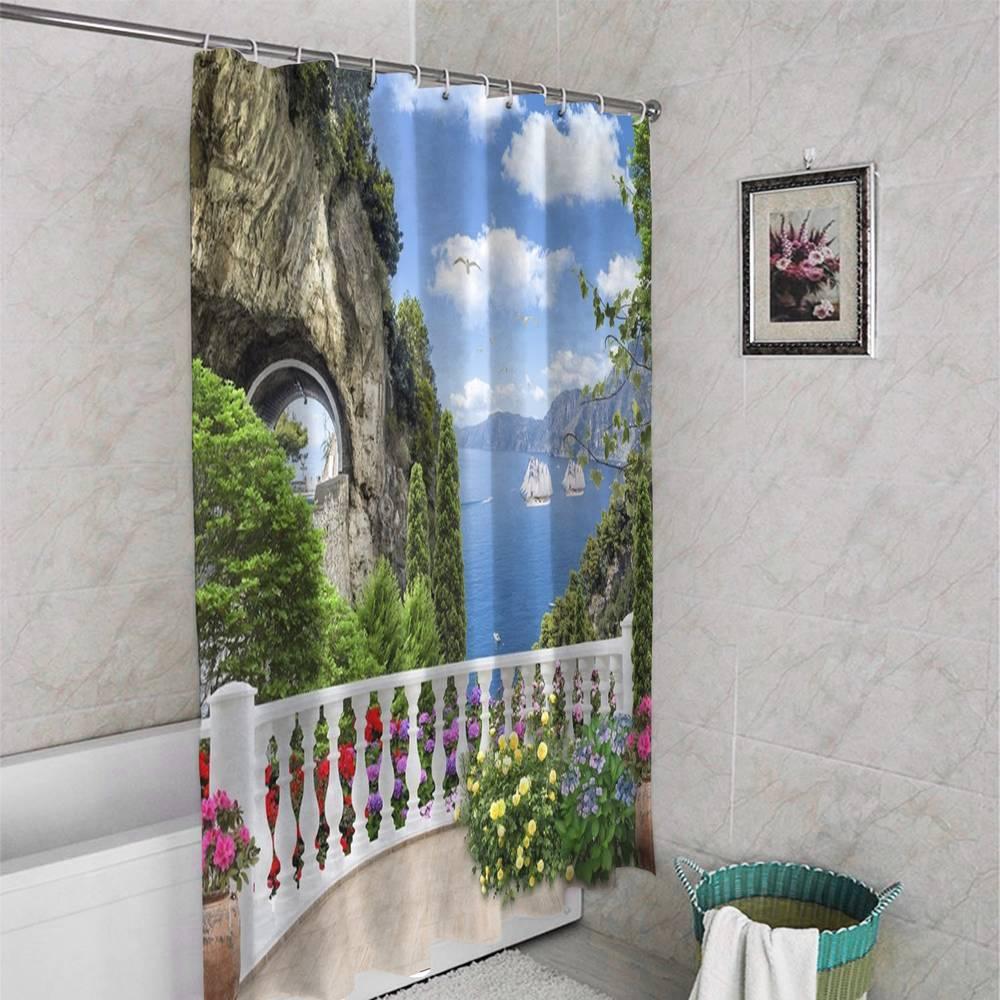 3D штора для ванны «Античный балкон с видом на парусники в заливе» вид 4