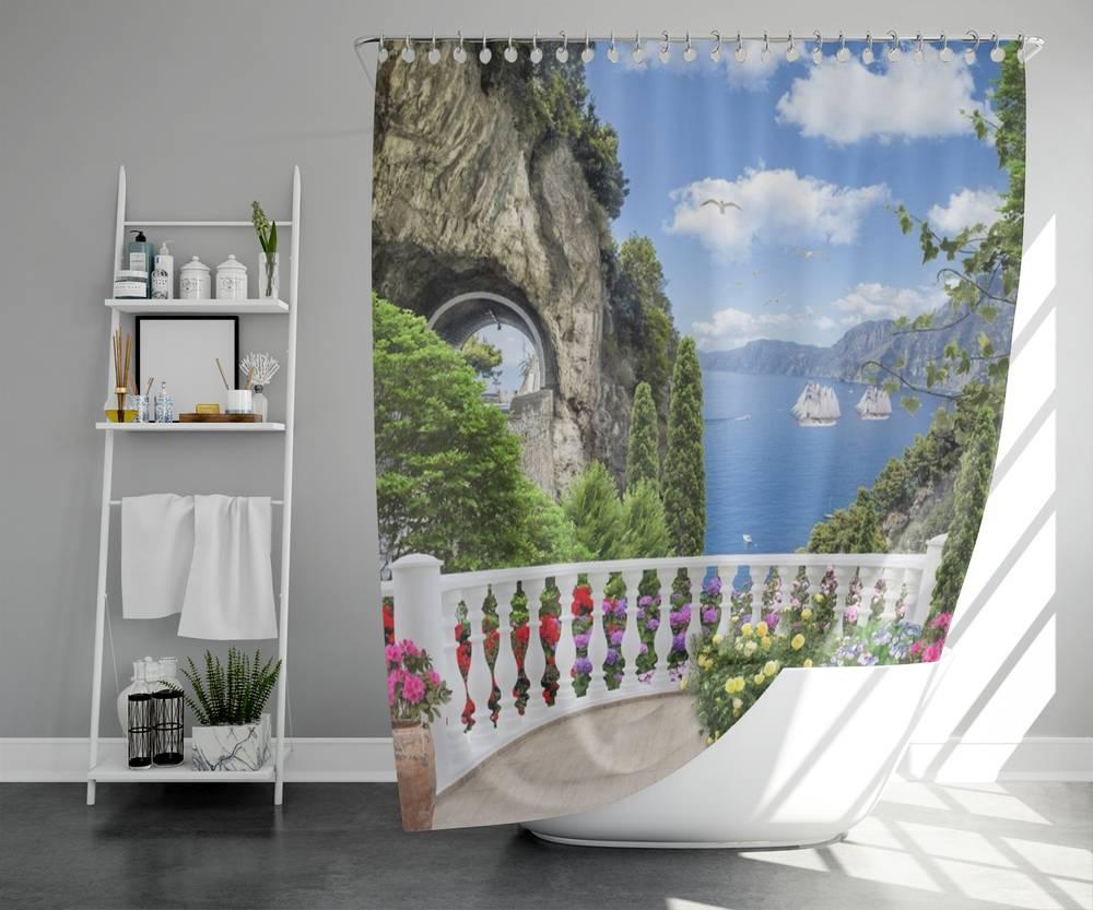 3D штора для ванны «Античный балкон с видом на парусники в заливе» вид 5