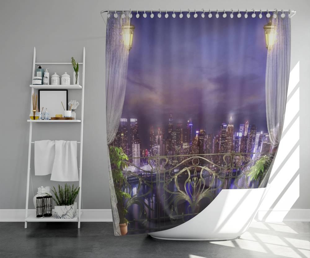 3D занавеска для ванны «Балкон в ночном городе» вид 5