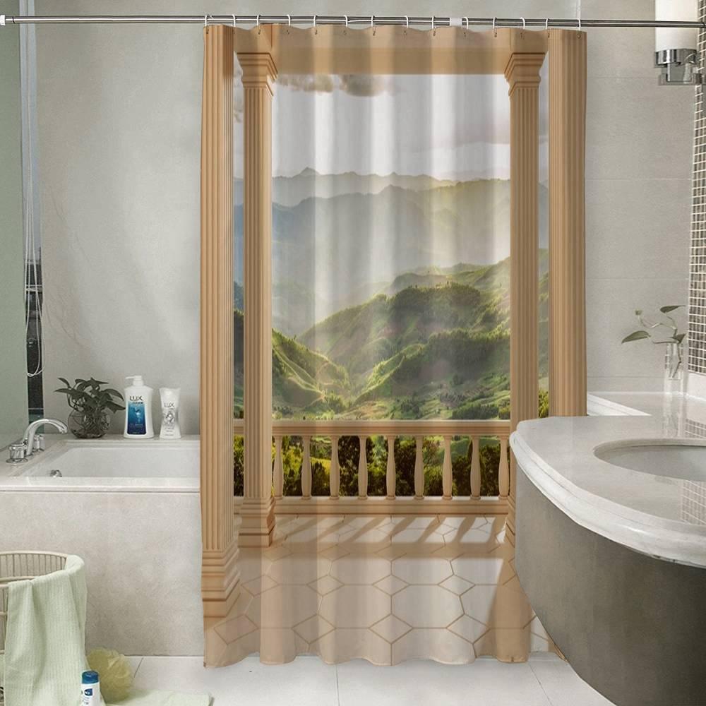 3D занавеска для ванной «Балкон с видом на солнечную долину»