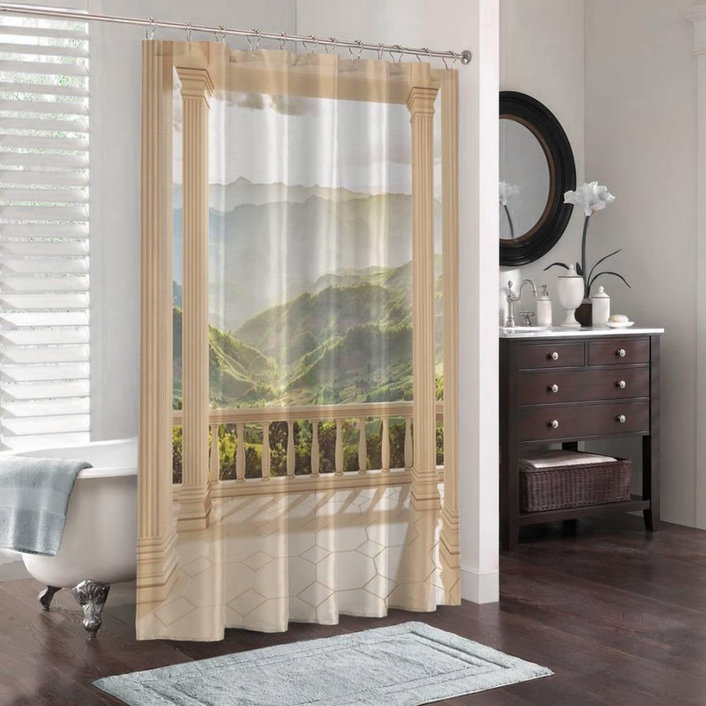 3D занавеска для ванной «Балкон с видом на солнечную долину» вид 3