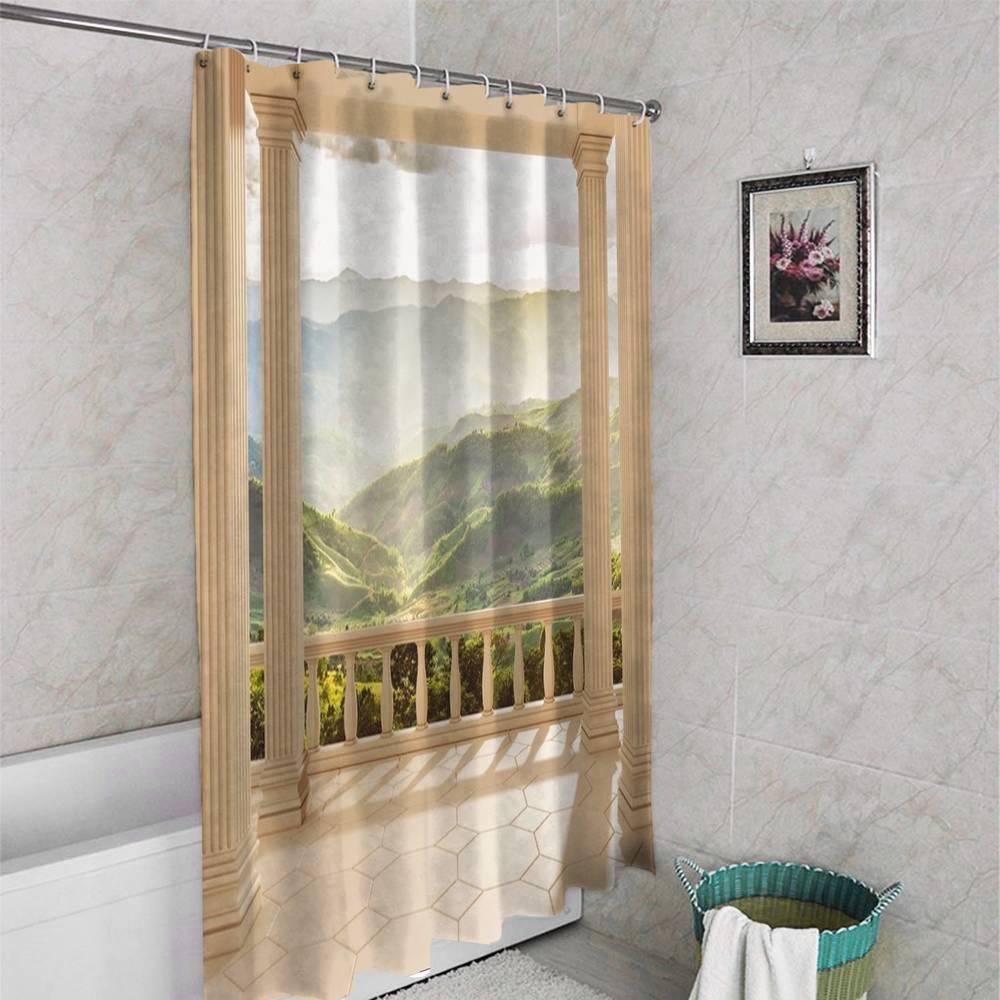 3D занавеска для ванной «Балкон с видом на солнечную долину» вид 4