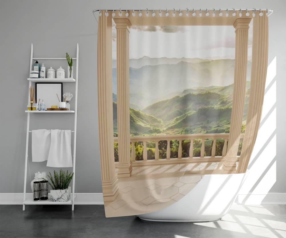 3D занавеска для ванной «Балкон с видом на солнечную долину» вид 5