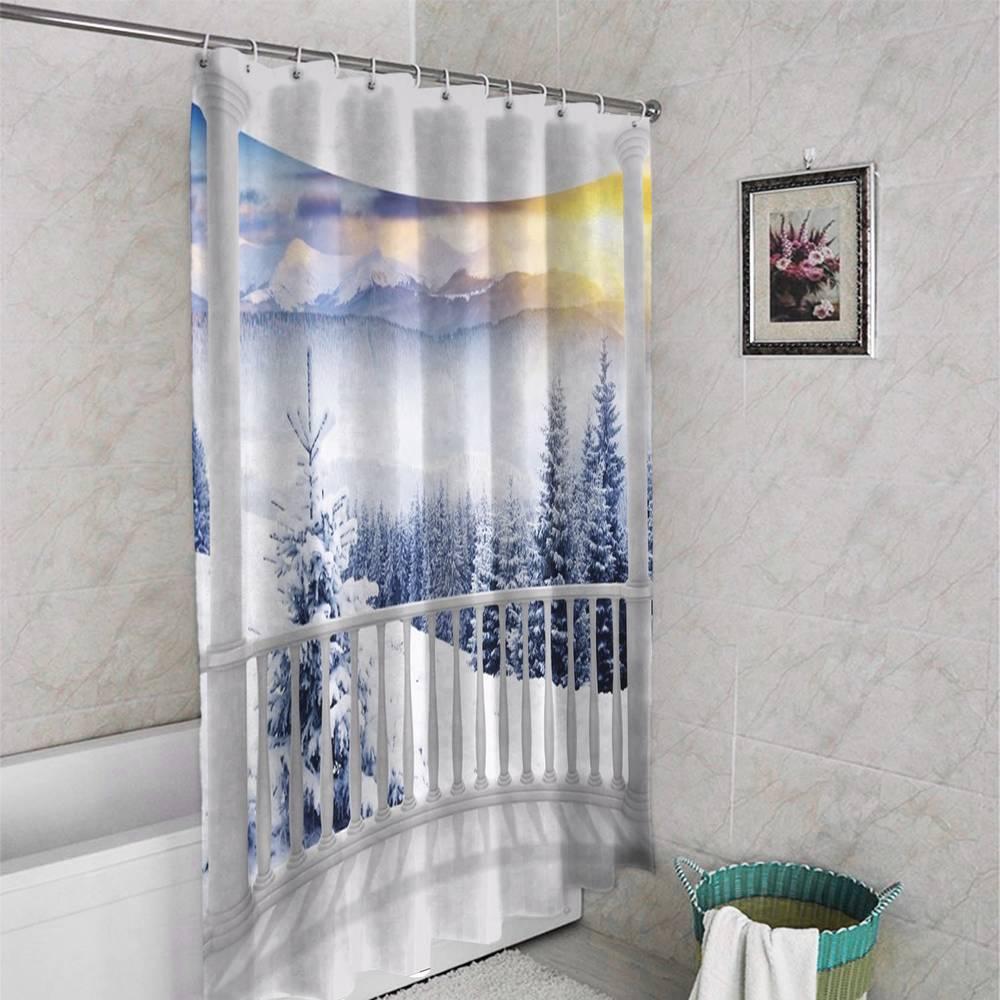 3D фото занавеска для ванной «Вид с балкона на зимний лес» вид 4