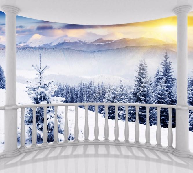 3D фото занавеска для ванной «Вид с балкона на зимний лес» вид 2