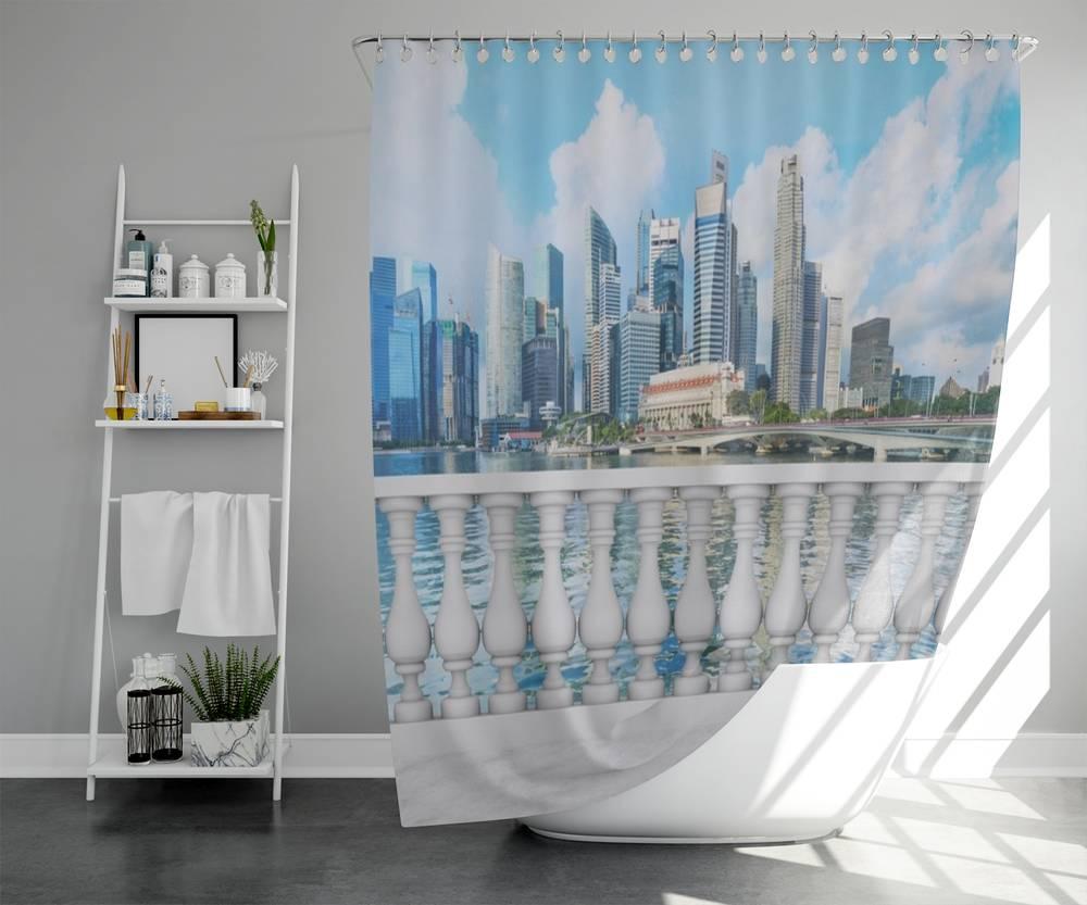 3D штора для ванны «Набережная с видом на мегаполис» вид 5