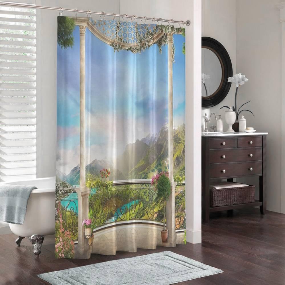 3D шторка для ванной «Рассвет в горной долине» вид 3