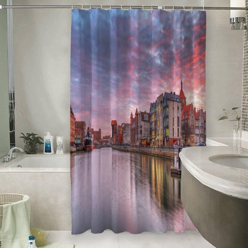 Занавеска для ванной «Закат над городом»