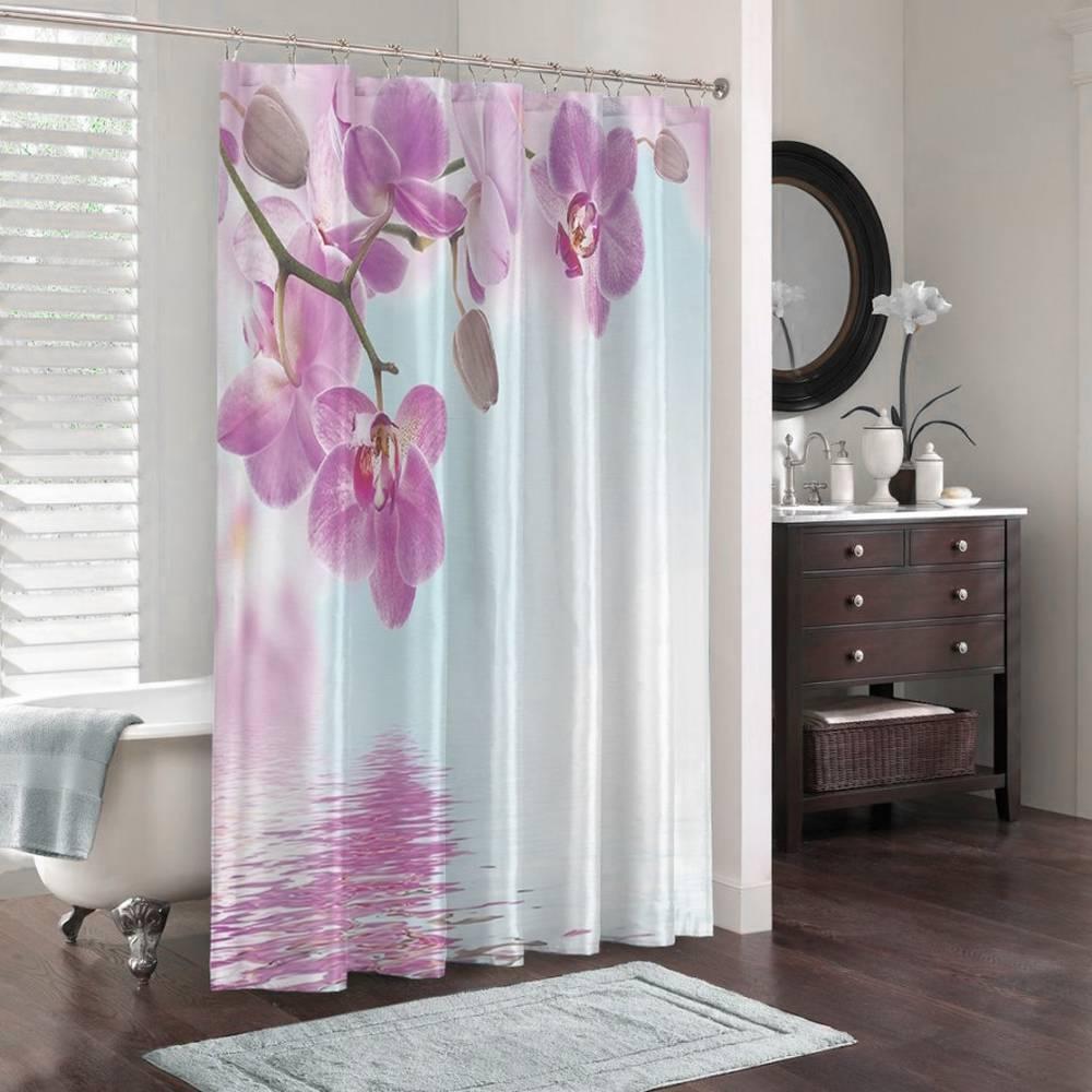 3D штора для ванной «Нежность над водой» вид 3