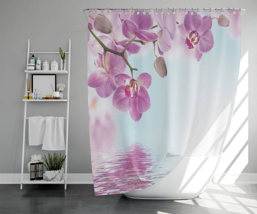 3D штора для ванной «Нежность над водой» вид 5