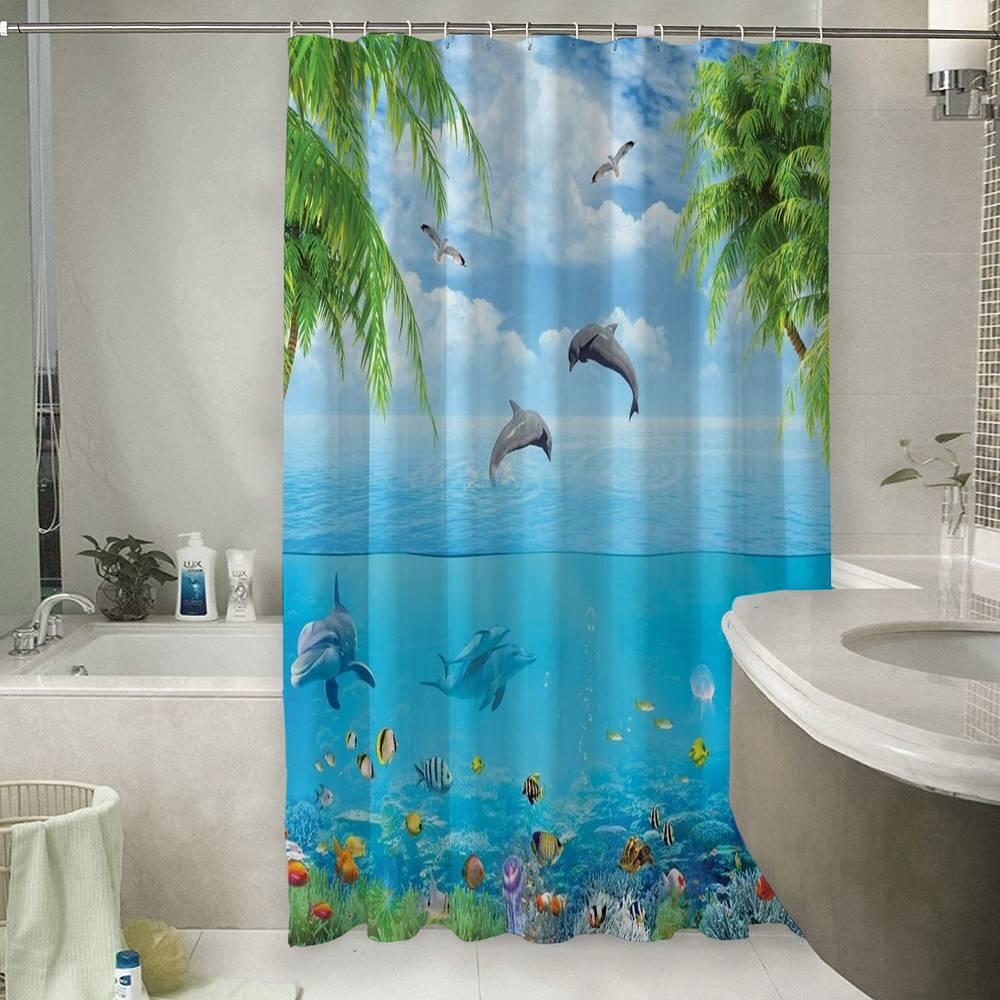 3D штора в ванную комнату «Дельфины над водой»