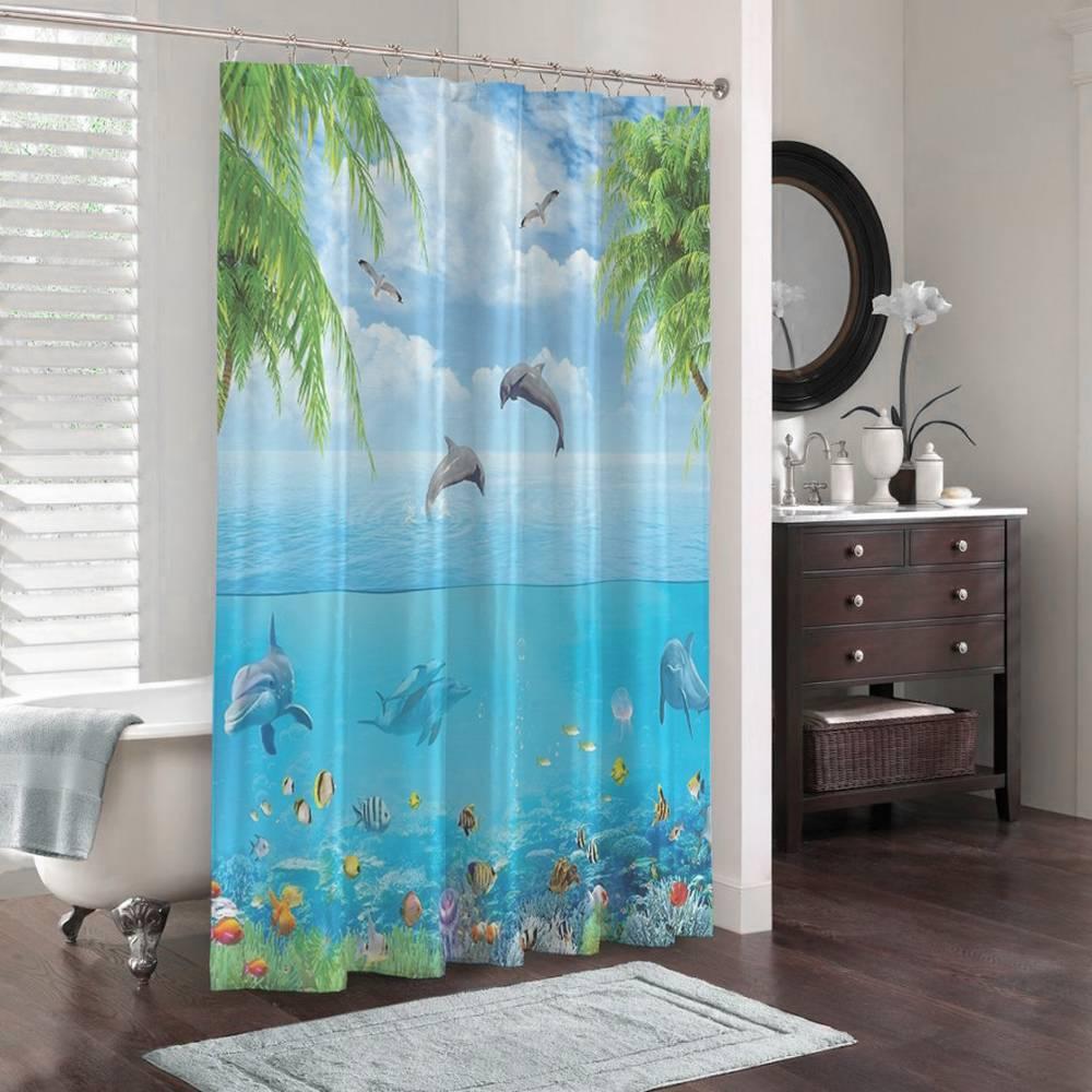 3D штора в ванную комнату «Дельфины над водой» вид 3