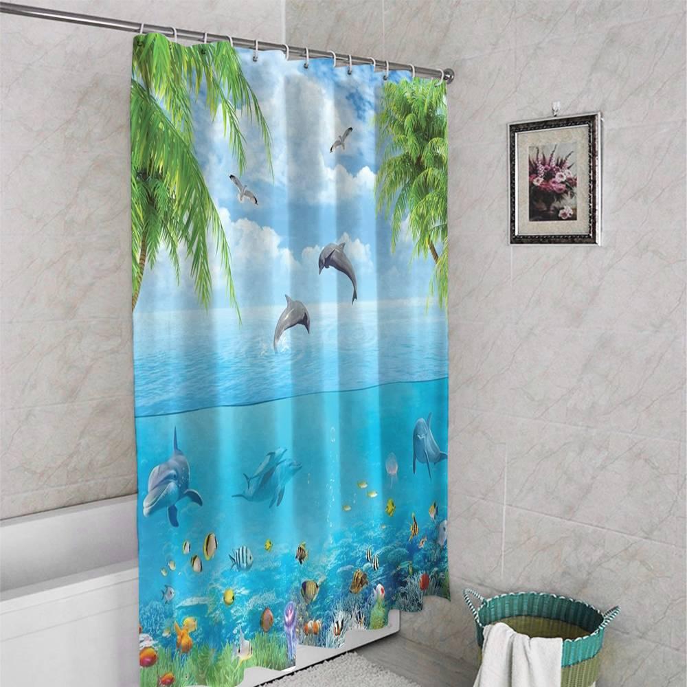 3D штора в ванную комнату «Дельфины над водой» вид 4