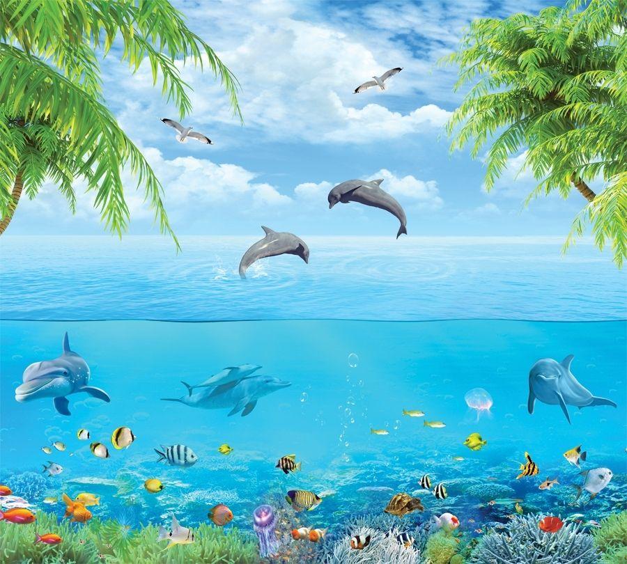 3D штора в ванную комнату «Дельфины над водой» вид 2