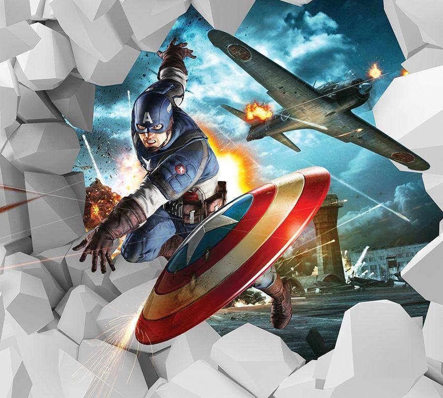 3D фото занавеска для ванной «Капитан Америка» вид 2