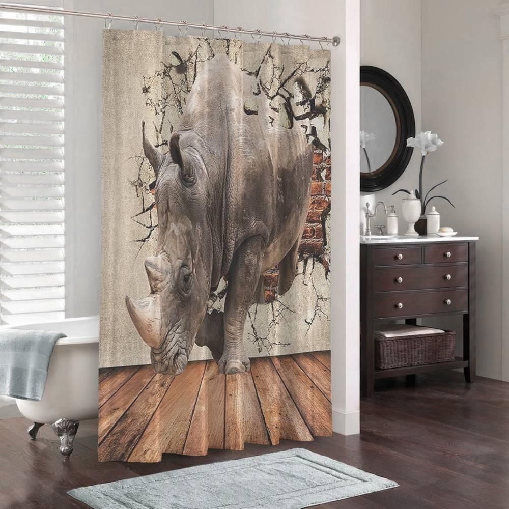 3D шторка для ванной «Носорог сквозь стену» вид 3