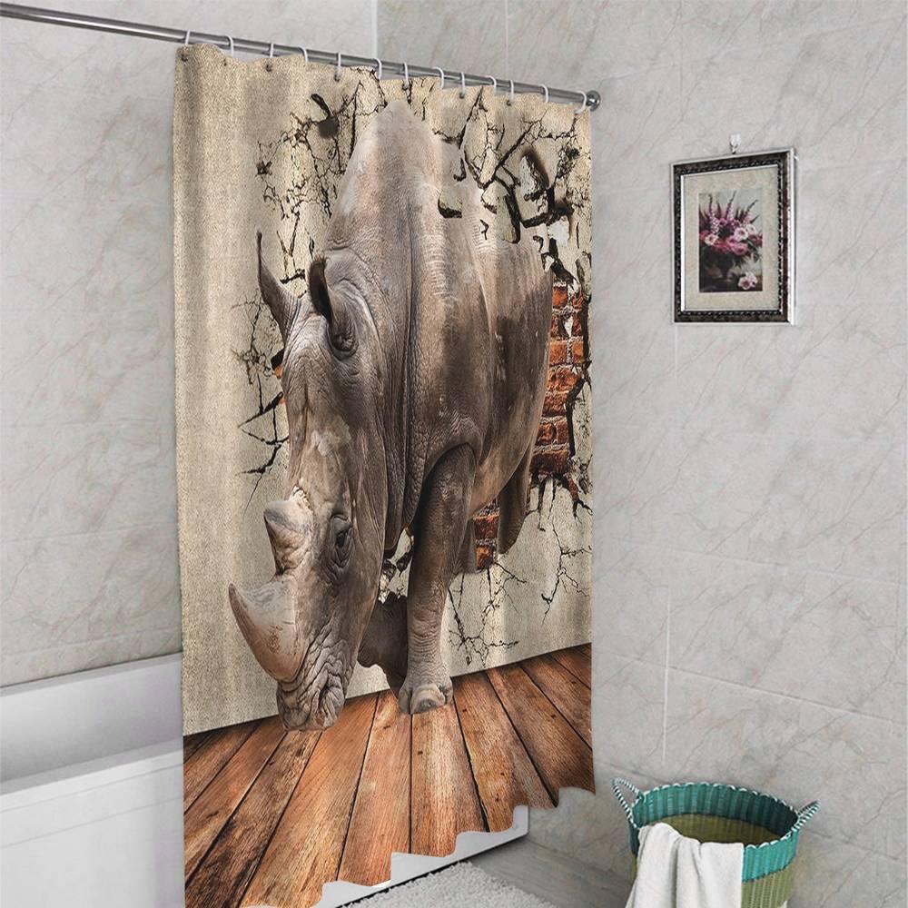3D шторка для ванной «Носорог сквозь стену» вид 4