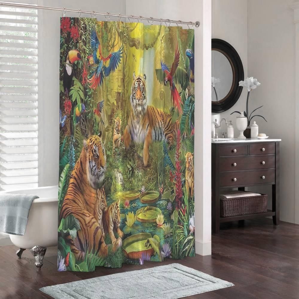3D шторка для ванны «Сказочные тигры» вид 3