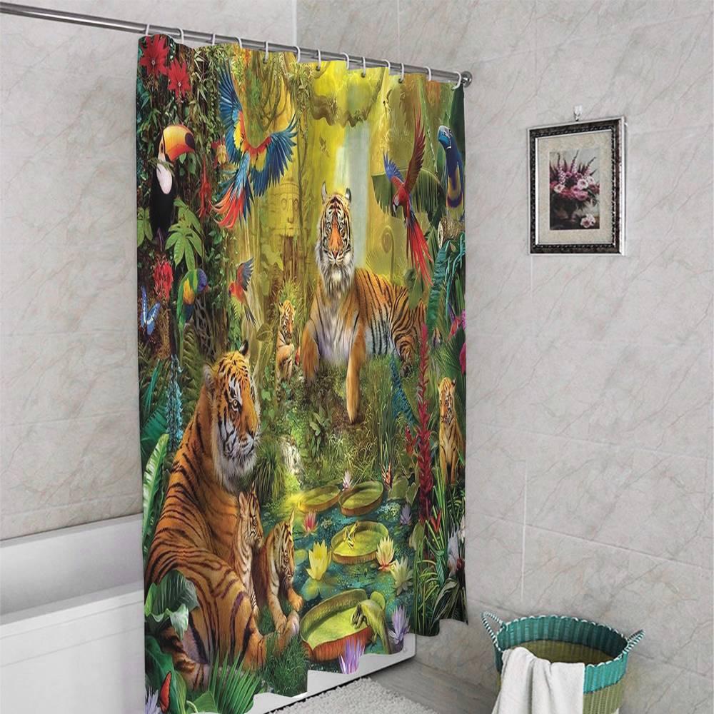3D шторка для ванны «Сказочные тигры» вид 4
