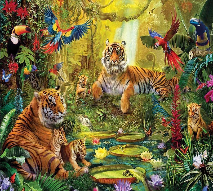3D шторка для ванны «Сказочные тигры» вид 2