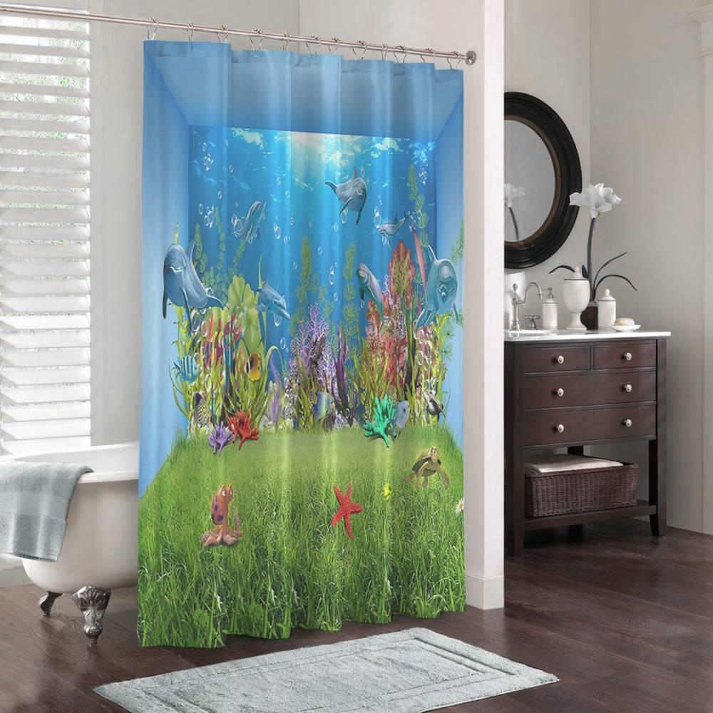3D штора в ванную «Газон под водой» вид 3