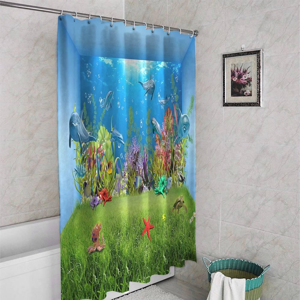 3D штора в ванную «Газон под водой» вид 4