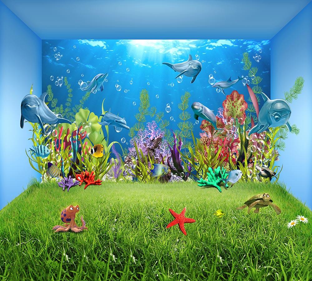 3D штора в ванную «Газон под водой» вид 2