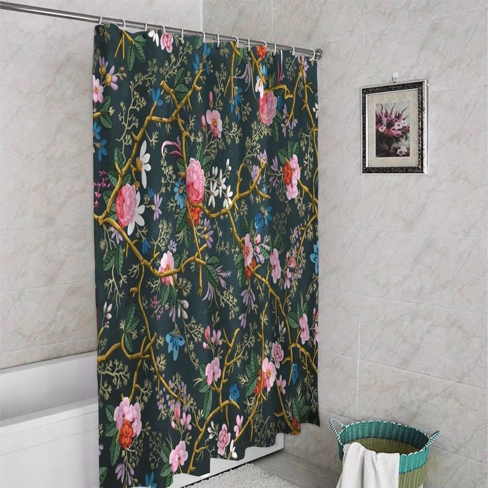 3D штора в ванную «Викторианский сад в темных тонах» вид 4