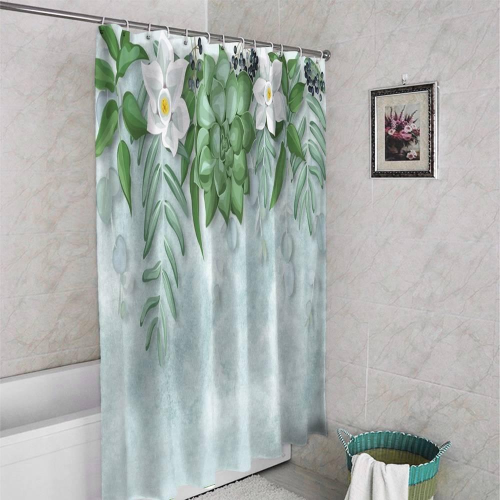 3D штора в ванную «Ожерелье из нарциссов» вид 4