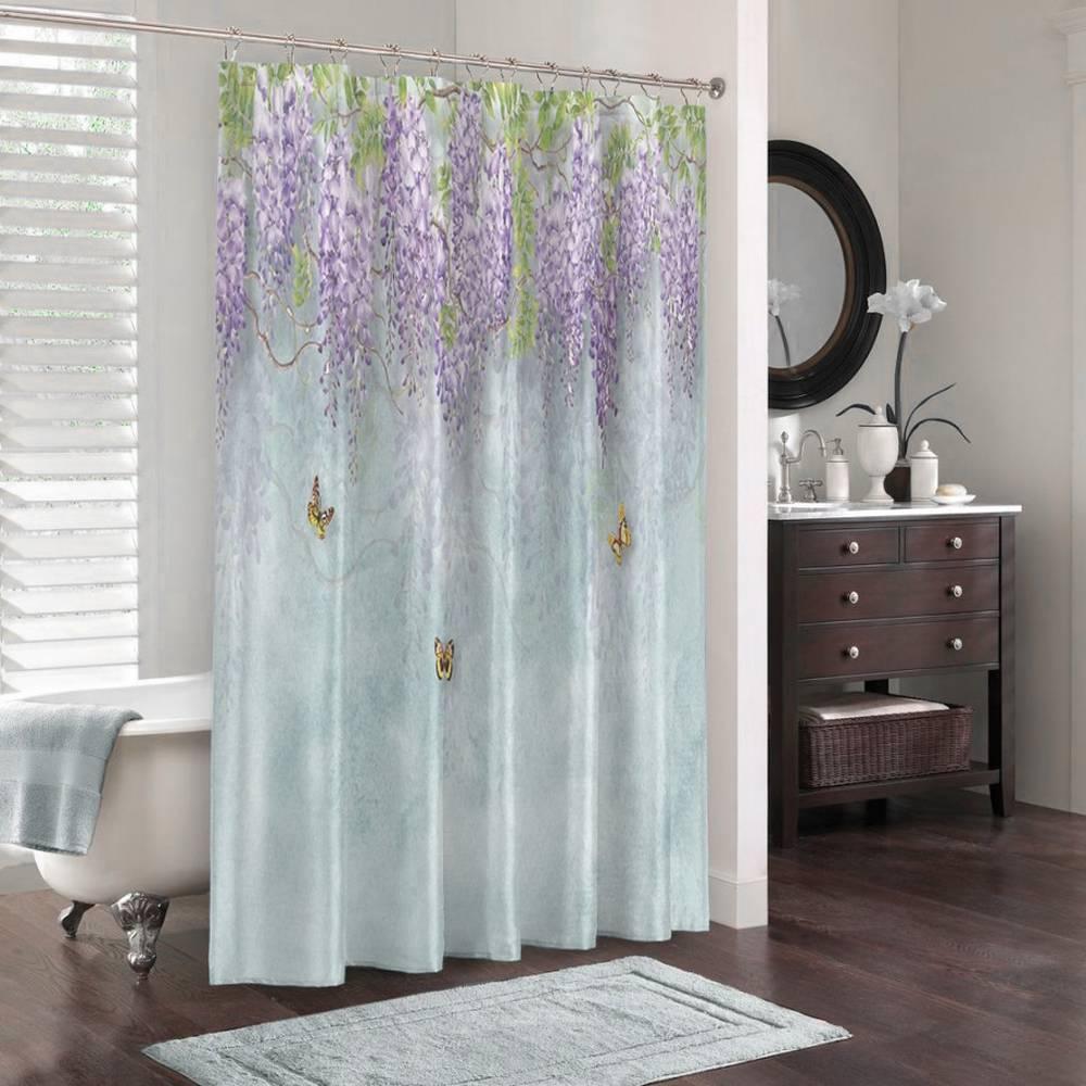 Занавеска для ванной «Сирень с бабочками» вид 3