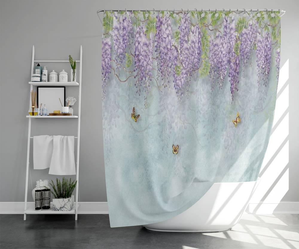 Занавеска для ванной «Сирень с бабочками» вид 5