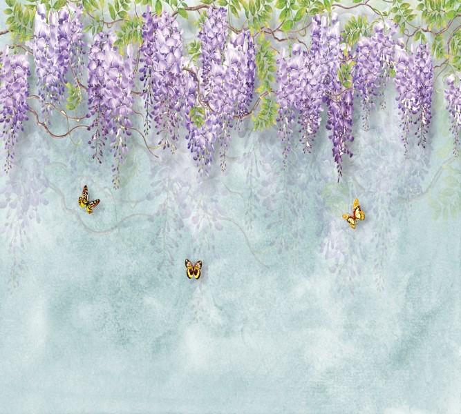 Занавеска для ванной «Сирень с бабочками» вид 2