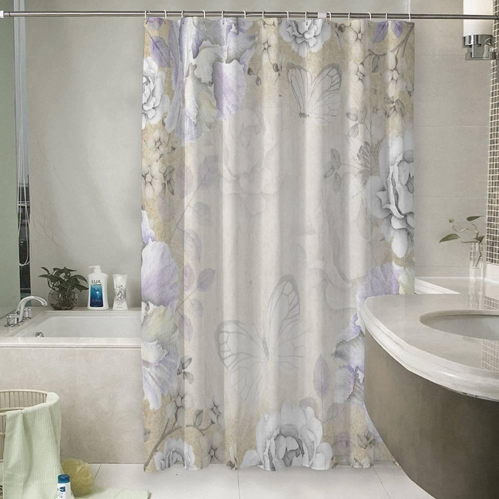 3D фото занавеска для ванной «Бабочки в сиреневом раю»