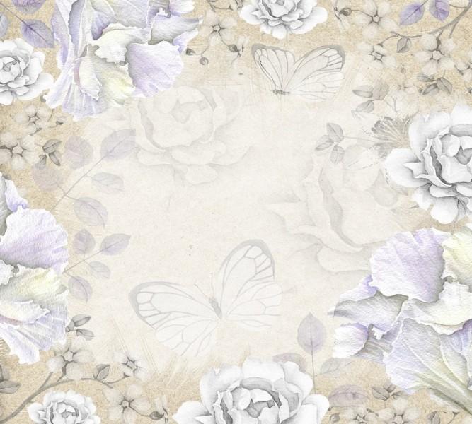 3D фото занавеска для ванной «Бабочки в сиреневом раю» вид 2