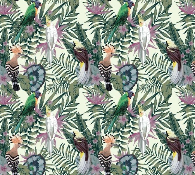 3D фото занавеска для ванной «Райские птицы в саду» вид 2