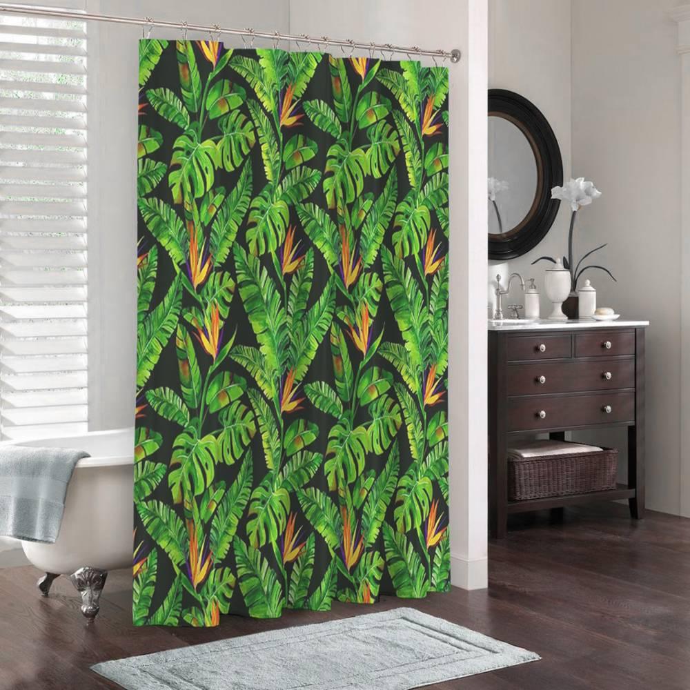 3D штора в ванную комнату «Карибские джунгли» вид 3