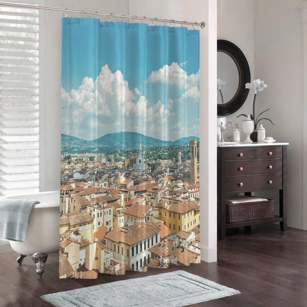 3D штора для ванной «Крыши домов Италии» вид 3