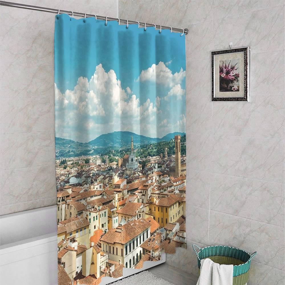 3D штора для ванной «Крыши домов Италии» вид 4