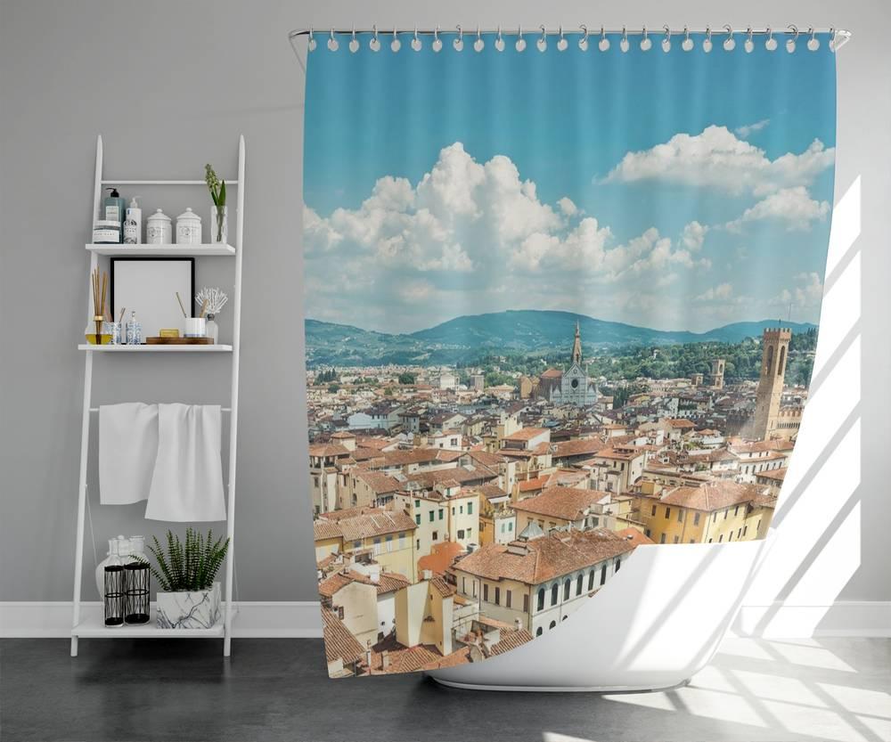 3D штора для ванной «Крыши домов Италии» вид 5