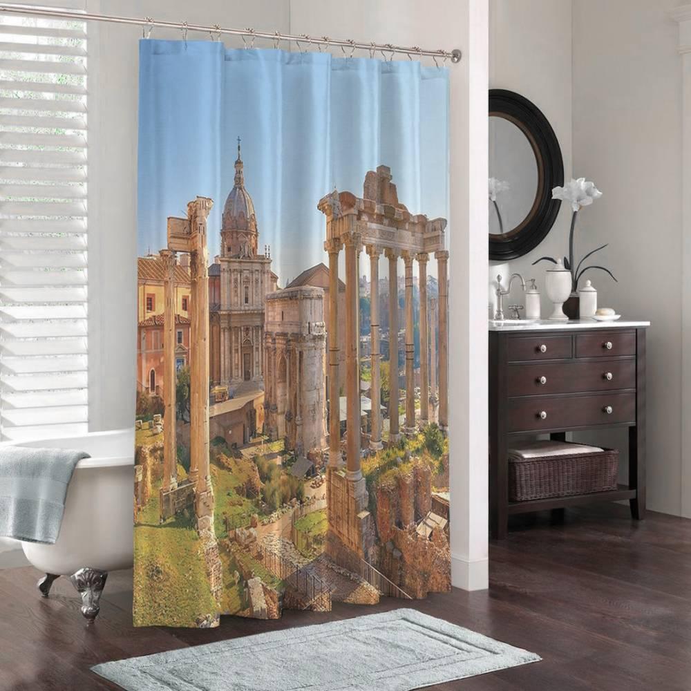 3D шторка для ванной «Древняя Италия» вид 3