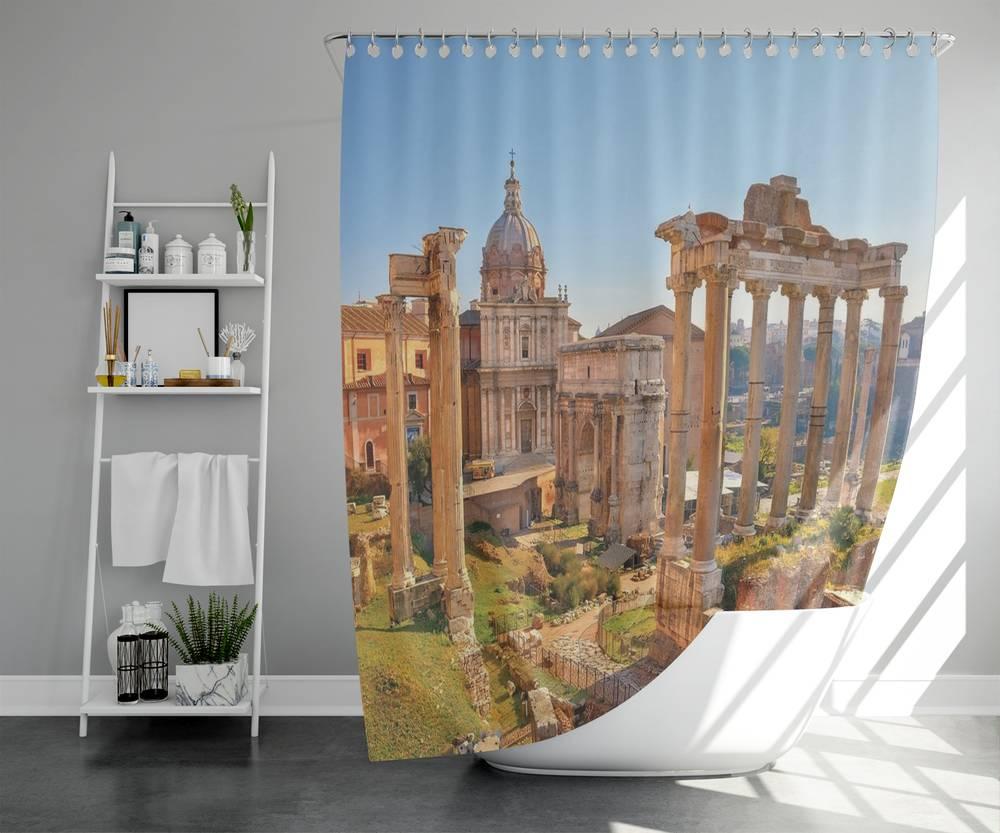 3D шторка для ванной «Древняя Италия» вид 5